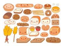 Coleção do ícone bonito da garatuja do alimento da padaria do bebê Fotos de Stock Royalty Free