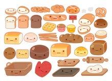Coleção do ícone bonito da garatuja do alimento da padaria do bebê Fotos de Stock