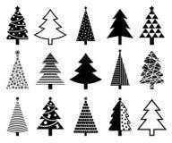 Coleção do ícone da árvore de Natal Imagens de Stock Royalty Free