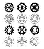 Coleção do ícone da engrenagem, projeto do vetor fotos de stock royalty free