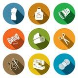 Coleção do ícone da fabricação de roupa da costura Fotos de Stock Royalty Free