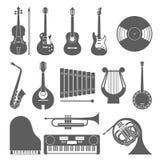 Coleção do ícone da música Silhueta do vetor Foto de Stock