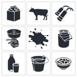 Coleção do ícone da produção de leite Fotografia de Stock Royalty Free