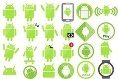 Coleção do ícone de Android Fotografia de Stock