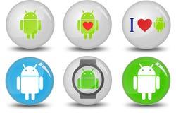 Coleção do ícone de Android Fotografia de Stock Royalty Free