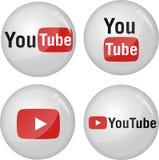 Coleção do ícone de Youtube Imagens de Stock