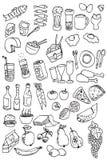 Coleção do ícone do alimento da tração da mão Fotografia de Stock