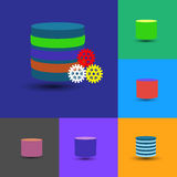 A coleção do ícone do base de dados, esta igualmente representa o armazém de dados, base de dados mergulhado Fotografia de Stock