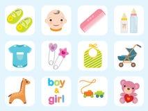 Coleção do ícone do bebê Fotografia de Stock Royalty Free