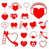 Coleção do ícone do coração - divertimento ilustração stock