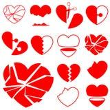Coleção do ícone do coração - quebrada Fotos de Stock