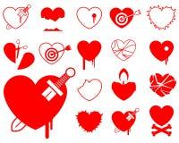 Coleção do ícone do coração - sangue/violência ilustração royalty free