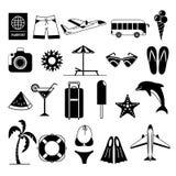 Coleção do ícone do curso e das férias Fotos de Stock Royalty Free