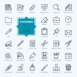 Coleção do ícone do esboço - artigos de papelaria do escritório Imagem de Stock Royalty Free