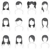A coleção do ícone do penteado da silhueta ajustou 2 Imagens de Stock