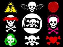 Coleção do ícone do pirata do crânio Fotos de Stock Royalty Free
