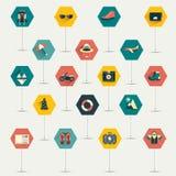Coleção do ícone liso do trawel. Fotos de Stock