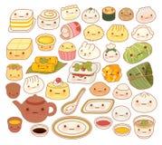 Coleção do ícone oriental chinês da garatuja do alimento do bebê bonito Fotos de Stock