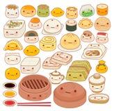 Coleção do ícone oriental chinês da garatuja do alimento do bebê bonito Foto de Stock