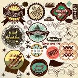A coleção do alimento do vetor do vintage etiqueta a padaria e os doces Imagem de Stock Royalty Free