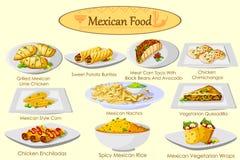 Coleção do alimento mexicano delicioso ilustração royalty free