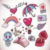 Coleção do amor dos desenhos animados da garatuja ilustração stock