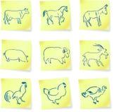Coleção do animal de exploração agrícola em notas de post-it Fotografia de Stock Royalty Free