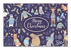 Coleção do animal do Natal fotografia de stock