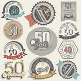 Coleção do aniversário do estilo 50 do vintage. Foto de Stock Royalty Free