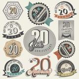 Coleção do aniversário do vintage 20. Imagens de Stock