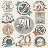 Coleção do aniversário do vintage 20. Foto de Stock Royalty Free