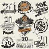 Coleção do aniversário do vintage 20 Imagem de Stock