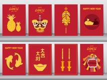 Coleção do ano novo chinês 2019, estilo do ofício, cartões, cartaz, molde, cartões, animal, dragão, ilustrações do vetor ilustração stock