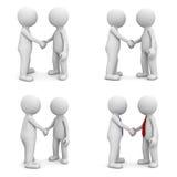 Coleção do aperto de mão dos povos 3d isolado no branco ilustração royalty free