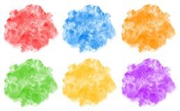 A coleção do arco-íris colore fundos arredondados aquarela Imagem de Stock Royalty Free