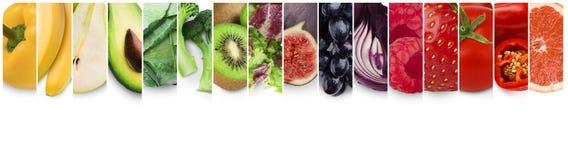 Coleção do arco-íris de frutas e legumes frescas imagem de stock
