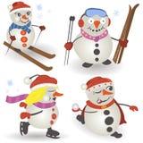 Coleção do boneco de neve Fotografia de Stock Royalty Free