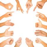 Coleção do branco do símbolo da mão isolada Imagens de Stock