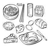 Coleção do café da manhã ilustração stock