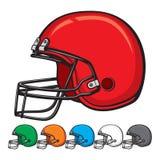 Coleção do capacete de futebol americano Fotografia de Stock