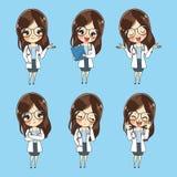 Coleção do caráter da mulher do doutor dos desenhos animados do vetor ilustração royalty free