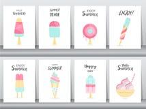 Coleção do cartão do convite do gelado, dia nacional feliz do gelado, cartaz, cumprimento, molde, cone, sundea, colher, illustrat Fotografia de Stock Royalty Free