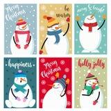 Coleção do cartão de Natal com boneco de neve e desejos ilustração do vetor