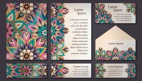 Coleção do cartão do convite Elementos decorativos do vintage Islã, Imagens de Stock Royalty Free