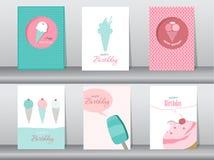 Coleção do cartão do cumprimento e do convite, aniversário, feriado, Natal, gelado, doce, verão, presente, desenhos animados, ilu ilustração royalty free