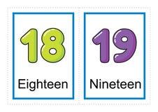 Coleção do cartão flash para números e seus nomes para crianças do pré-escolar/jardim de infância | deixe-nos aprender números ilustração stock