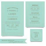 Coleção do casamento Cartões do convite da hortelã Projeto Wedding Estilo do vintage Fotos de Stock