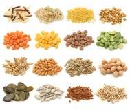 Coleção do cereal, da grão e das sementes imagem de stock