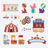 Coleção do circo com carnaval, feira de divertimento Ícones do vetor e coleção do fundo e da ilustração Fotografia de Stock