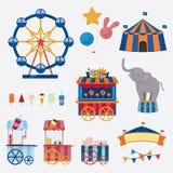 Coleção do circo com carnaval, feira de divertimento Ícones do vetor e coleção do fundo e da ilustração Imagem de Stock